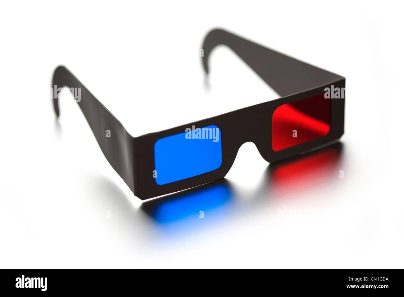 3D Glasses on White - Stock Image