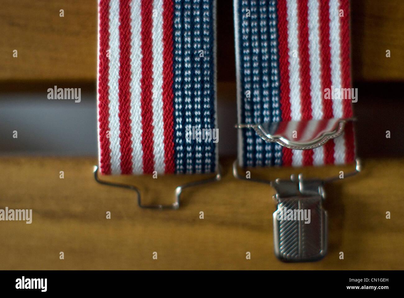 Detail of American Flag Suspenders - Stock Image