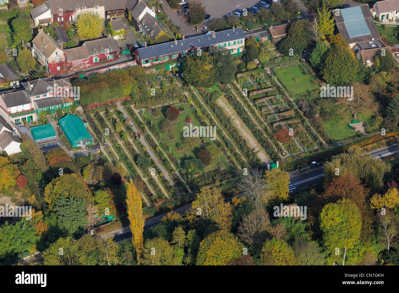 France, Eure, Giverny, Monet\'s house and garden (aerial view Stock ...