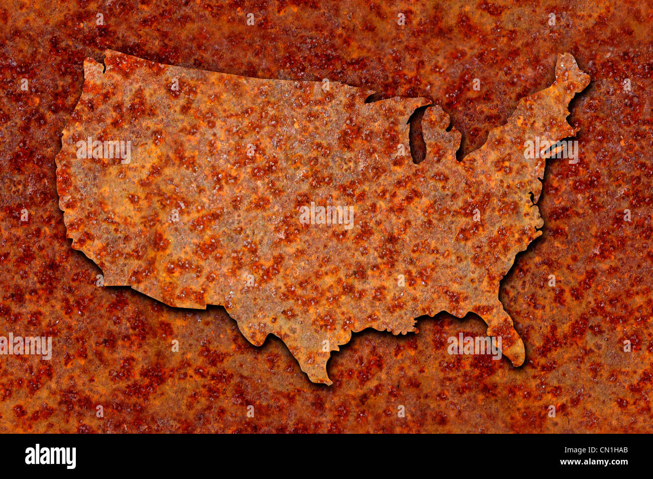Rusted corroded metal map of the United States seamlessly tileable, reddish orange in color. - Stock Image