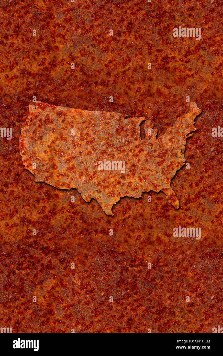 Rusted corroded metal map of the United States, reddish orange in color. - Stock Image