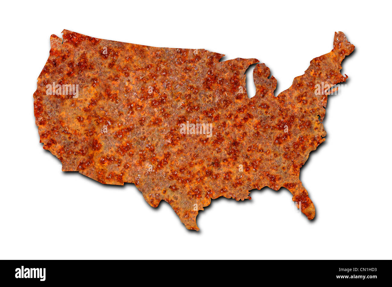 Rusted corroded metal map of the United States on white background - Stock Image
