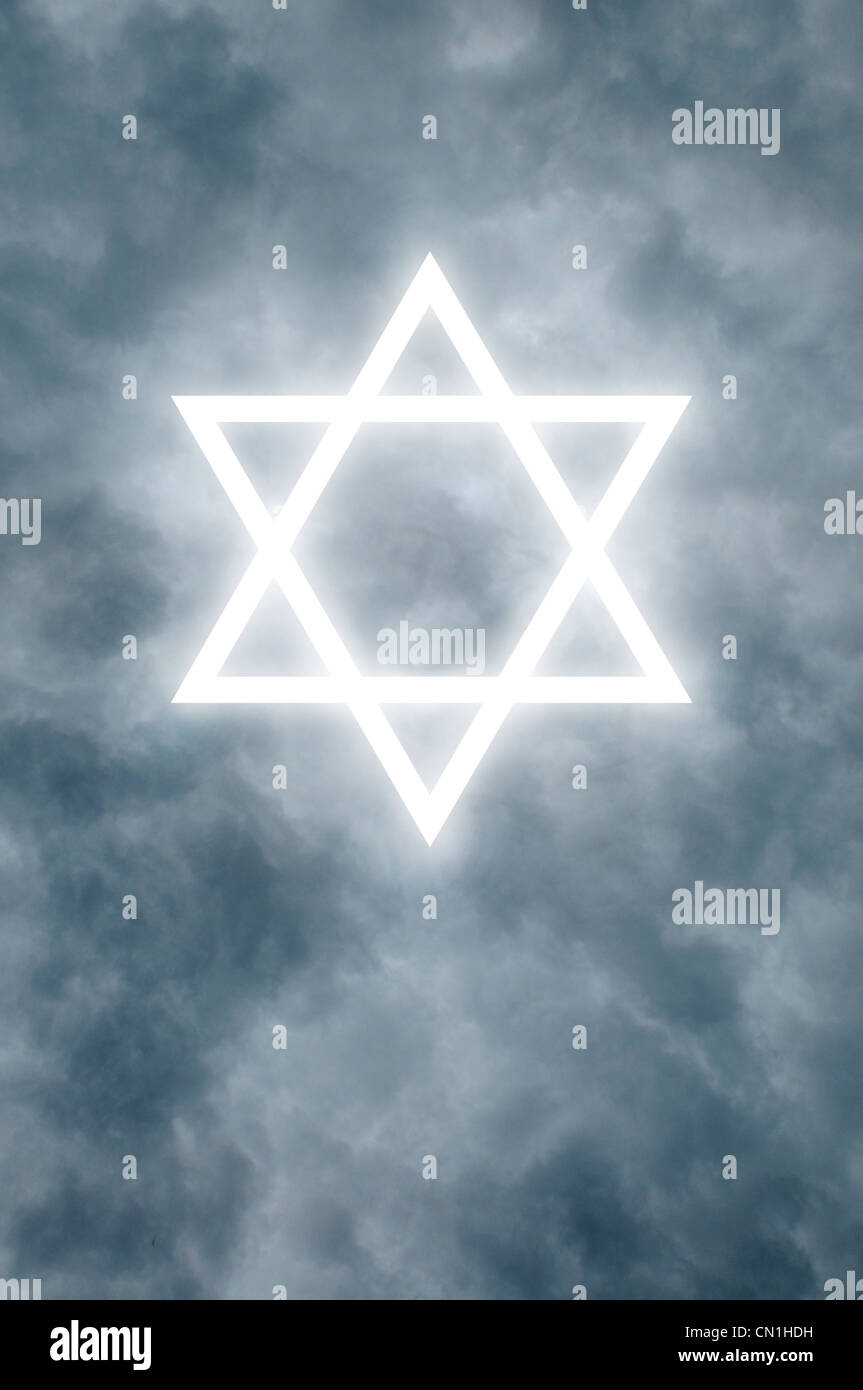 Glowing Star of David among dark clouds - Stock Image