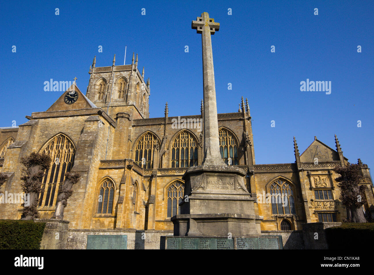 Sherborne abbey market town centre high street dorset england Stock Photo
