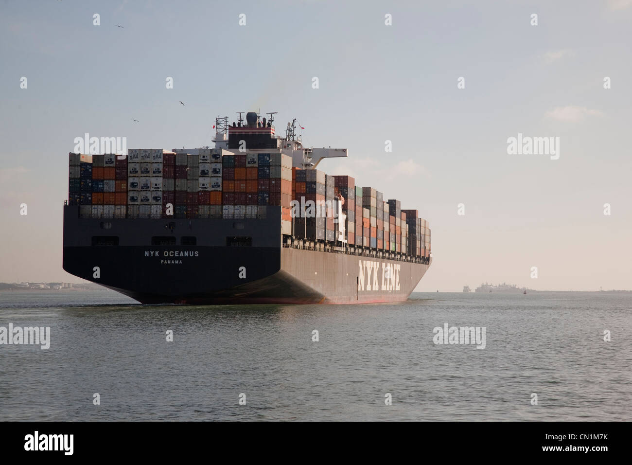 Cargo Ship Leaving Southampton Port, England, UK - Stock Image