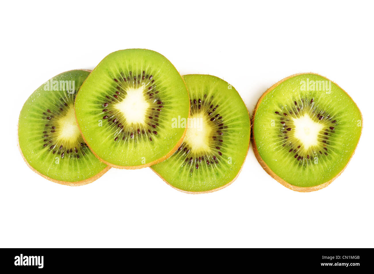 Ripe kiwi on white background - Stock Image