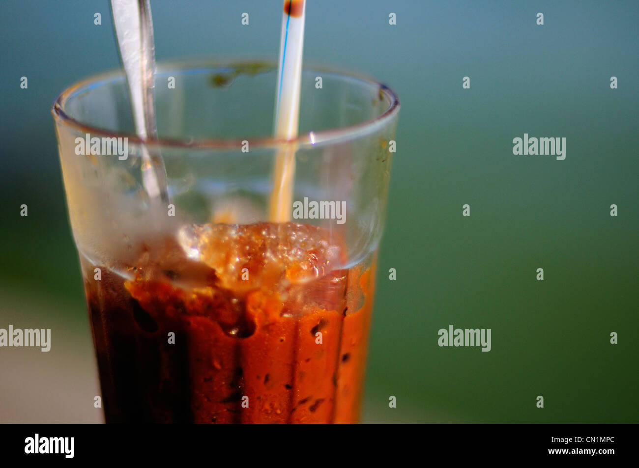 Vietnamese iced coffee with condensed milk (cà phê sữa đá) - Stock Image