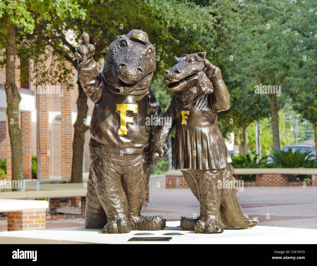Statues of University of Florida mascots Albert E. Gator and Alberta Gator stand across the campus in Gainesville, - Stock Image