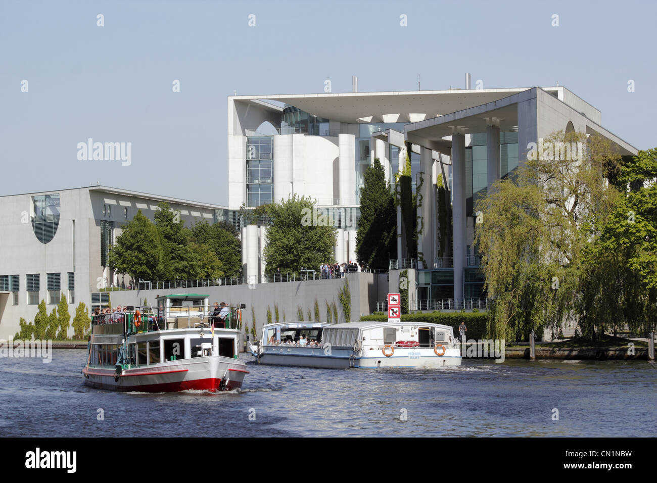 Berlin Mitte Ferderal Chancellery Chancellory Chancellorship Spree - Stock Image