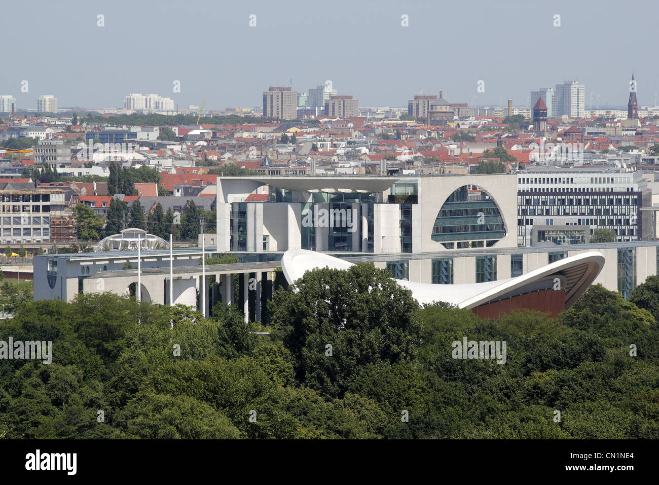 Berlin Mitte Ferderal Chancellery  Chancellorship Skyline Tiergarten - Stock Image