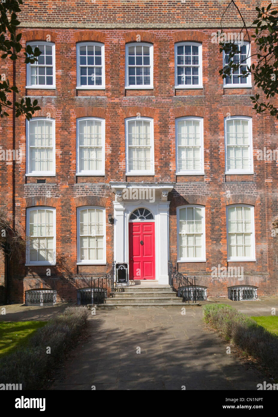 Georgian frontage of Hollytrees museum, Colchester, Essex, England - Stock Image