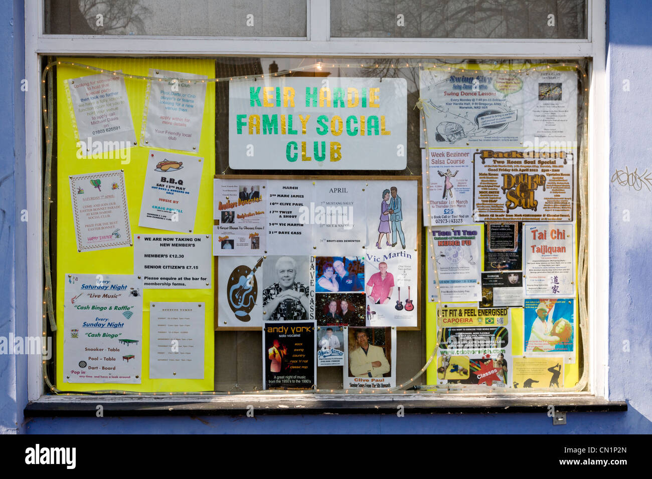 The Keir Hardie Hall working mens club window in St Gregory's Alley, Norwich, Norfolk, UK. - Stock Image