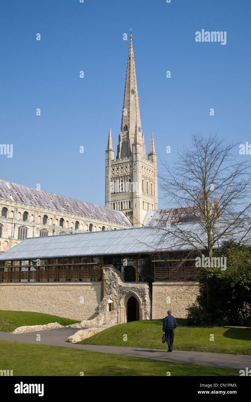 The 900 year old Norwich Cathedral in spring sunshine, Norfolk, UK. - Stock Image