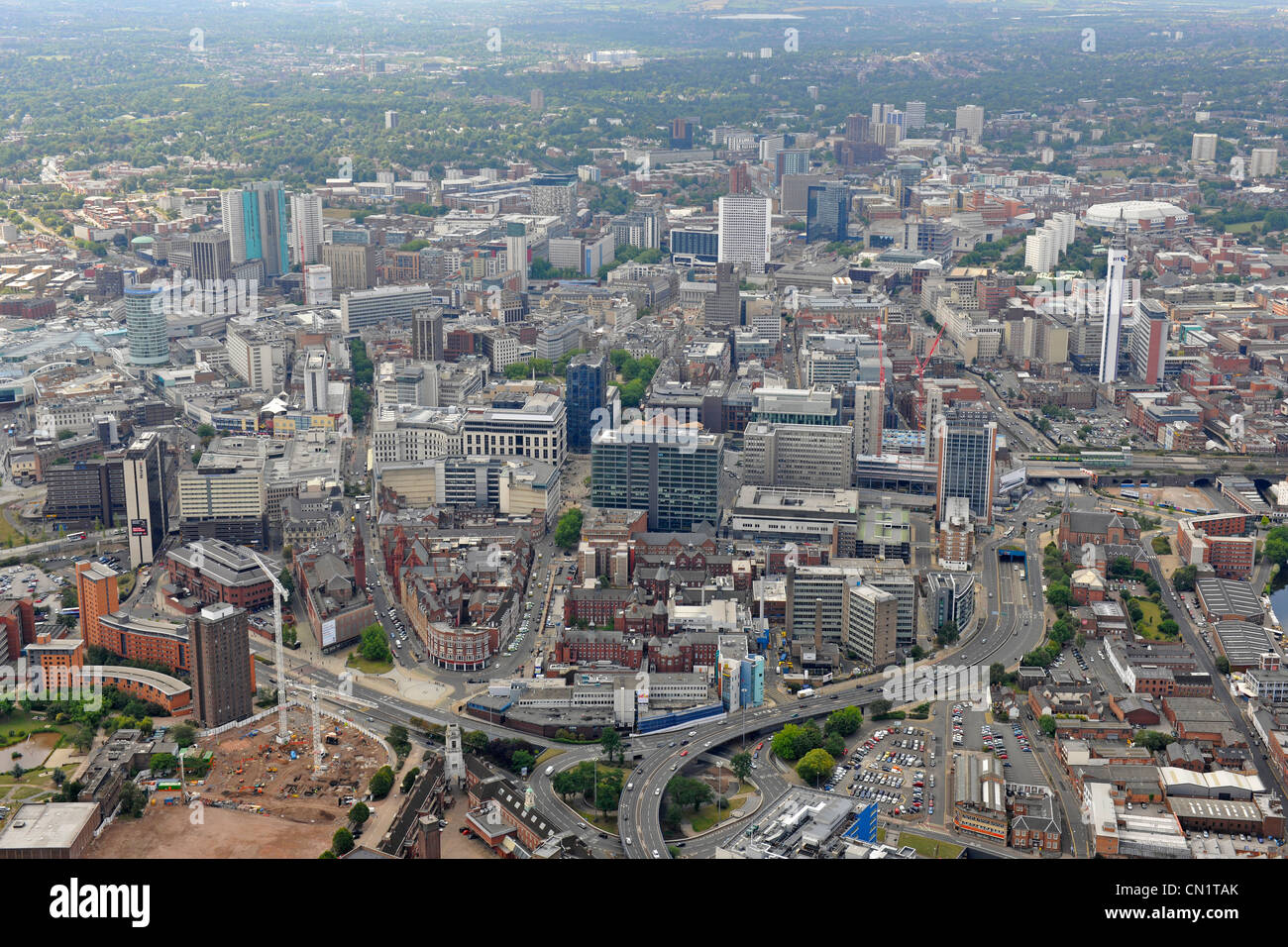 Birmingham City Centre Aerial View Stock Photo