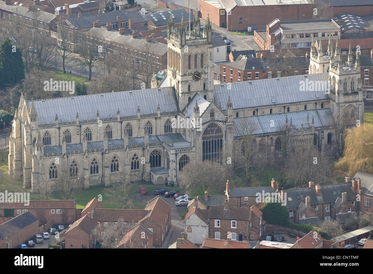 Selby Abbey North Yorkshire from the air. - Stock Image