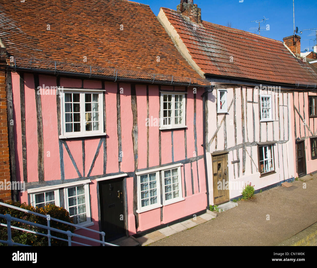 Half timbered cottages Colchester, Essex, England - Stock Image