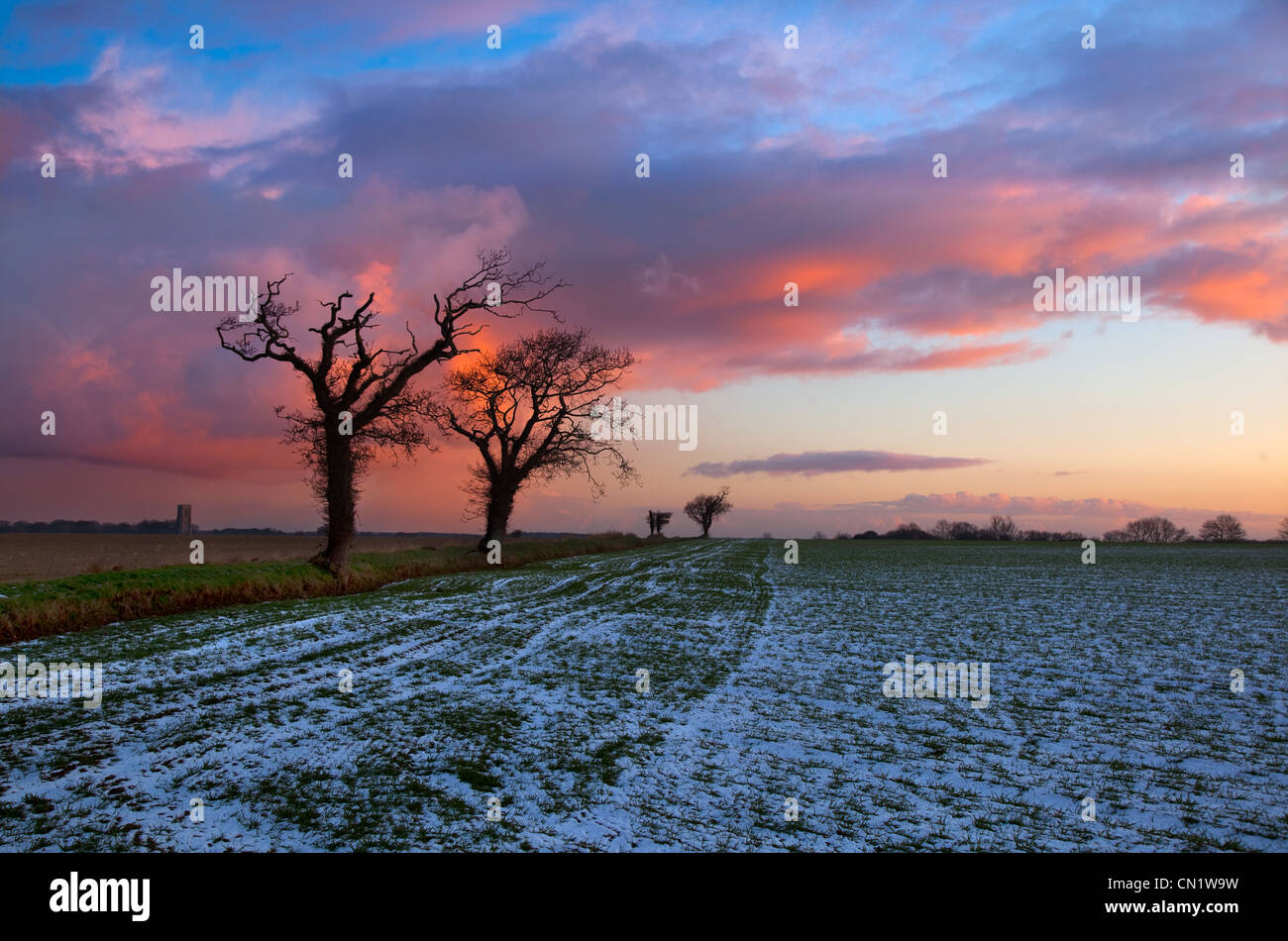 Country Lane Southrepps in snow Norfolk Winter Stock Photo