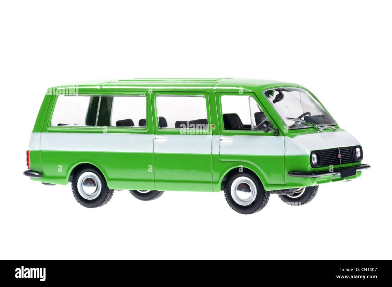 Lativia old minibus on white background. - Stock Image