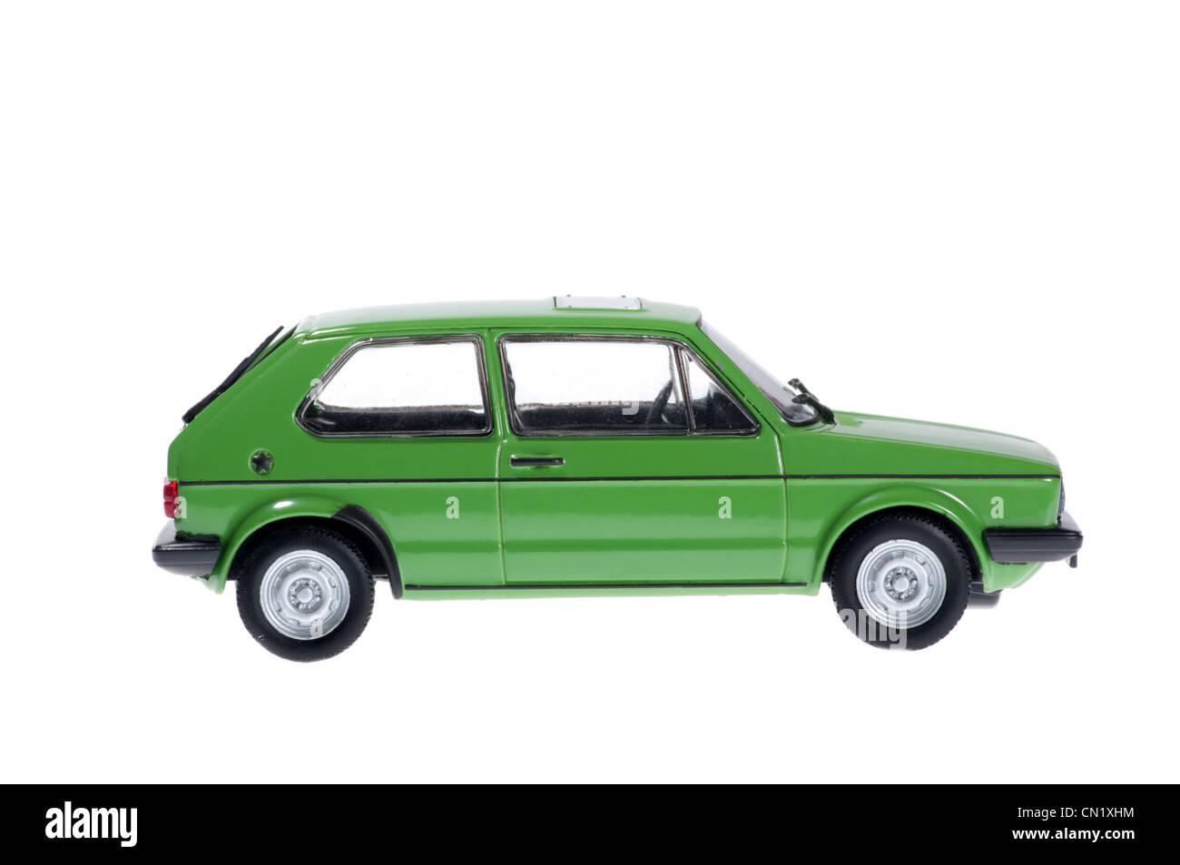 The model of old green volkswagen golf. - Stock Image