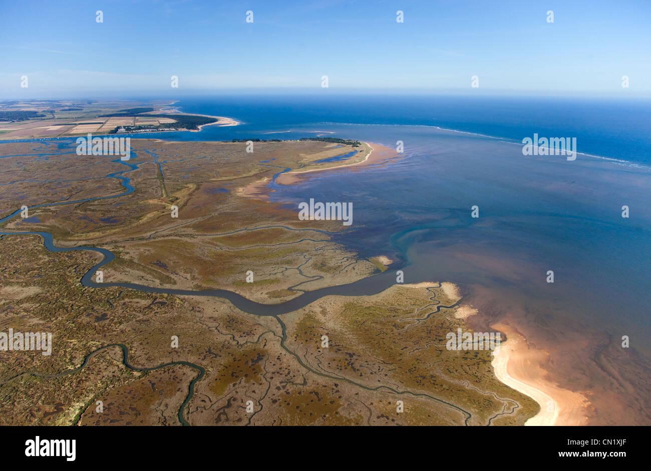 Stiffkey Salt Marshes & Holkham Bay Norfolk from the air Stock Photo