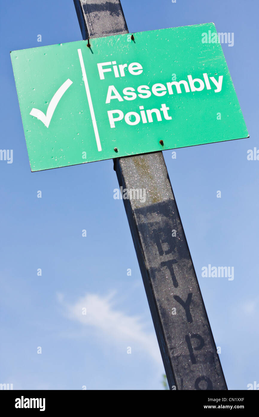 Fire asssembly point sign - Stock Image