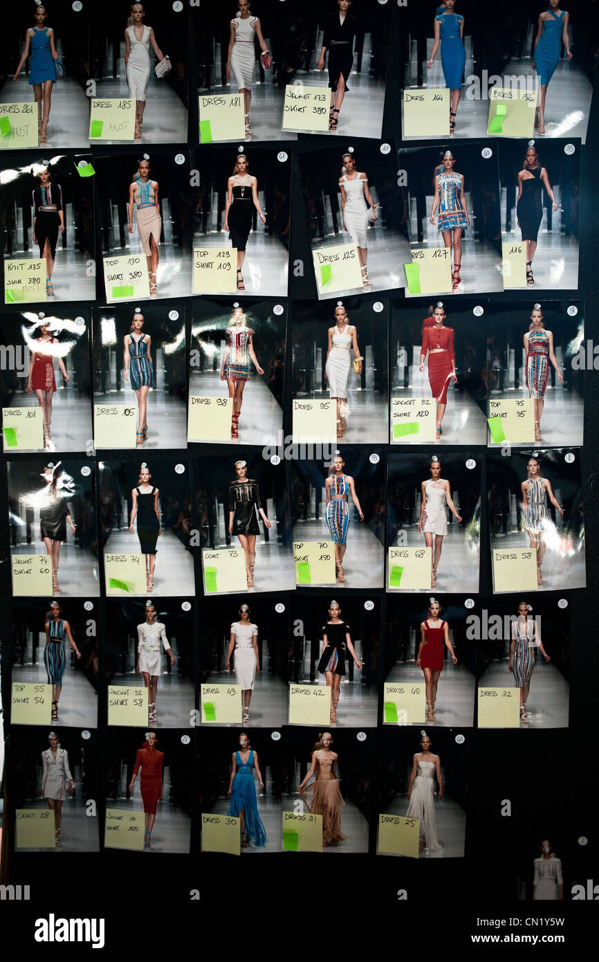 A working baord of models for a fashion show - Stock Image