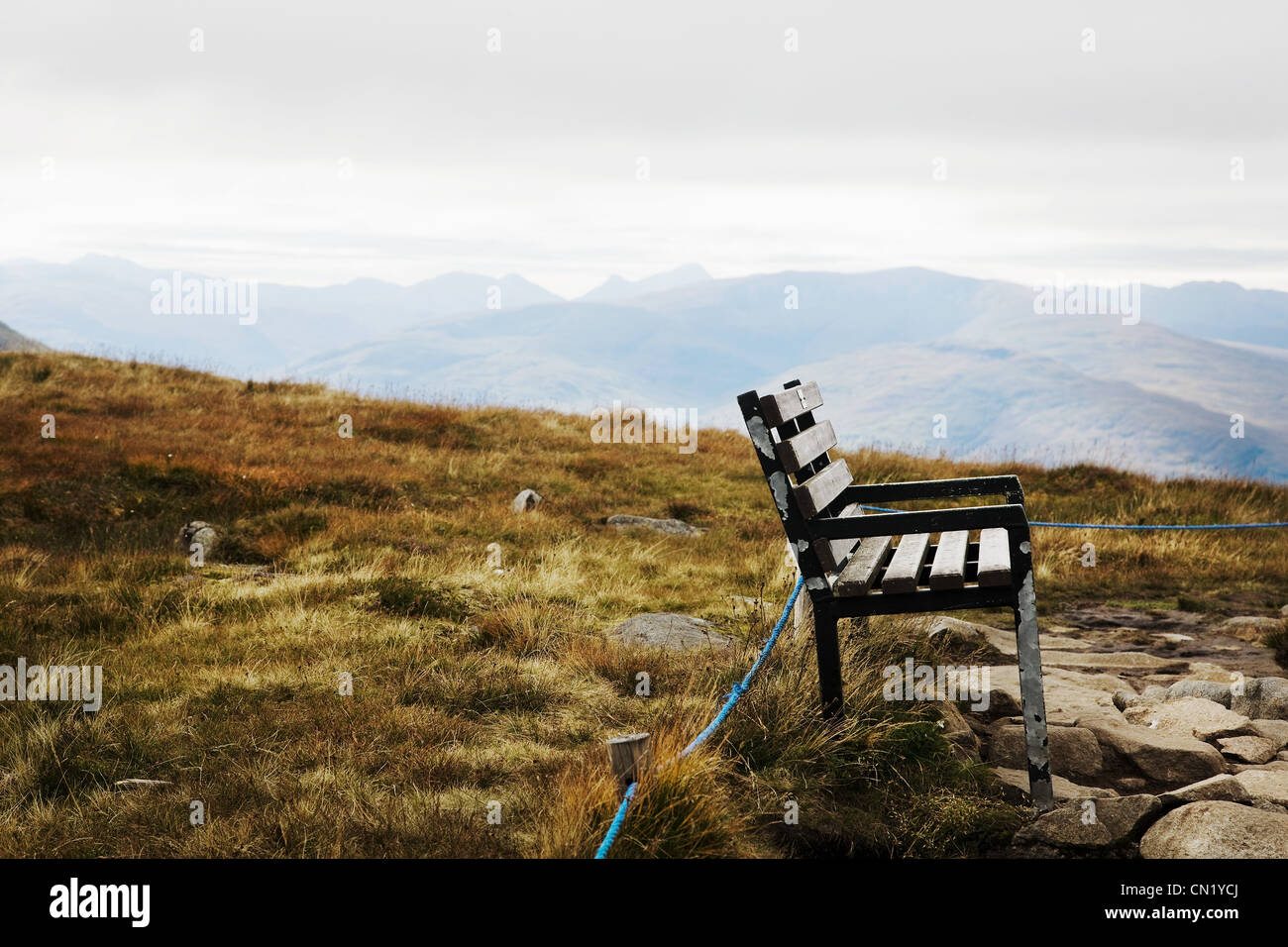 Bench, Glen Nevis, Scotland, UK - Stock Image