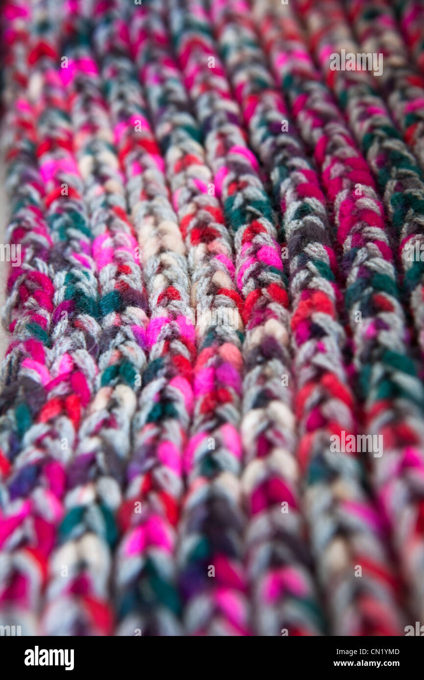Close up image of knitted wool - Stock Image