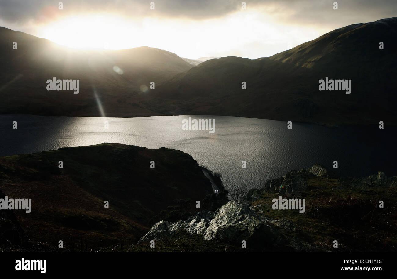 High angle of lake, Wales, UK - Stock Image