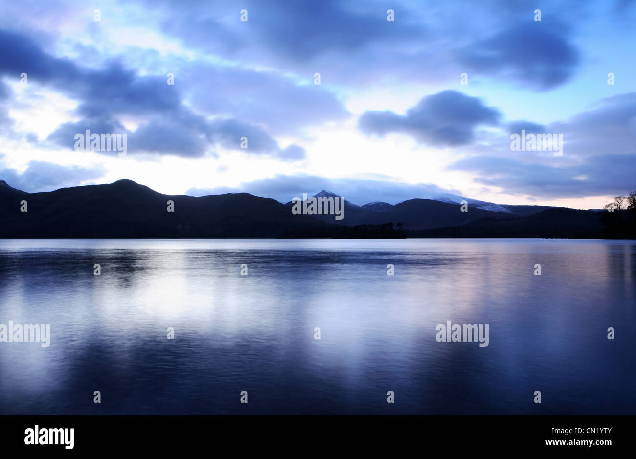 Lake at dusk, Lake District, Cumbria, England, UK - Stock Image