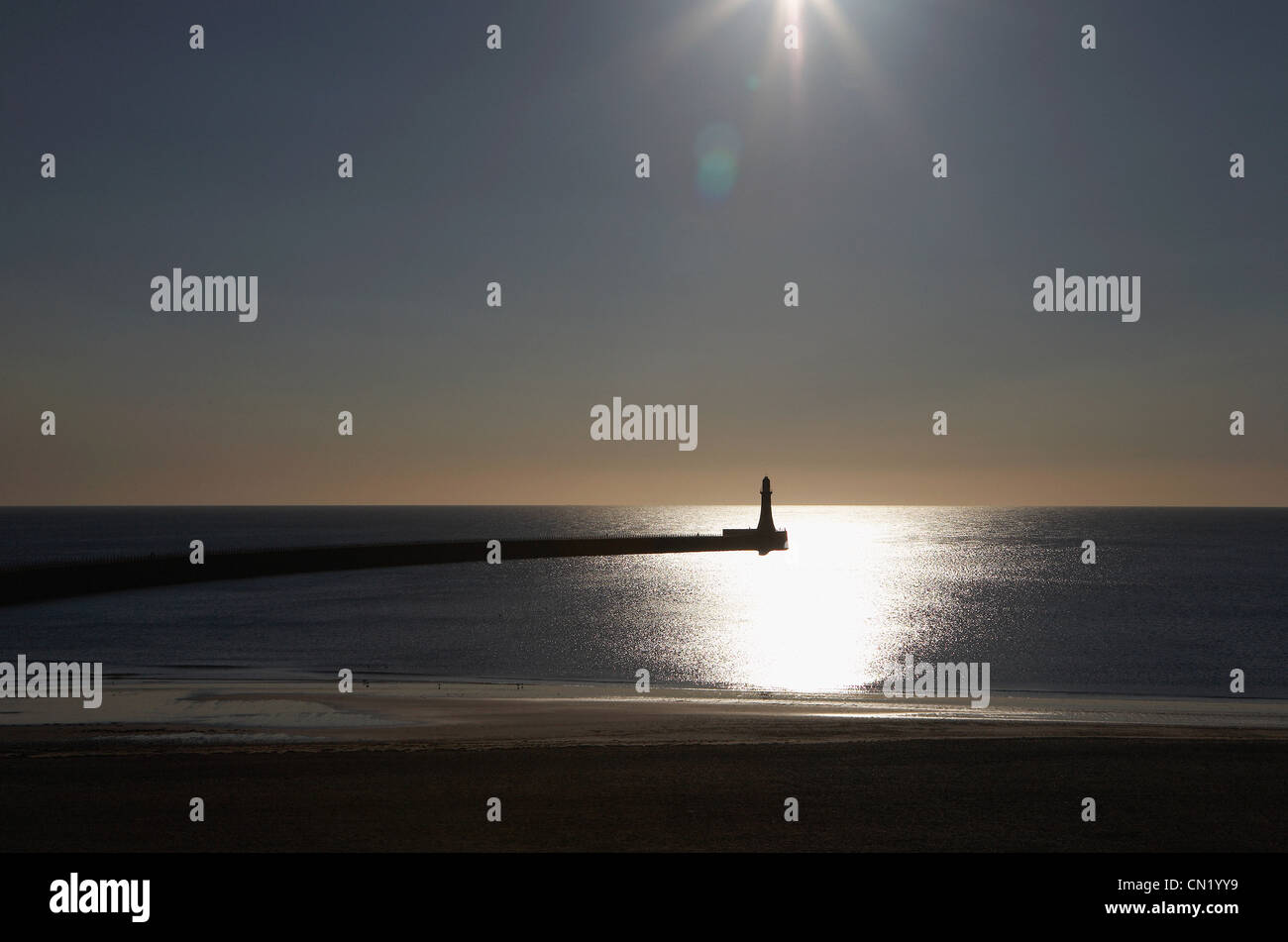 South Shields lighthouse and pier, Tyne and Wear, England - Stock Image