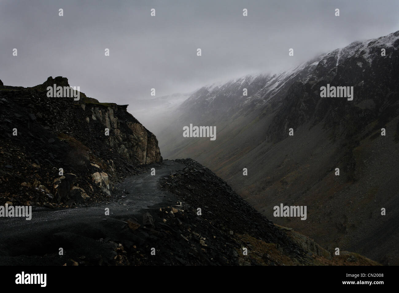 Misty mountain, Lake District, Cumbria, England, UK - Stock Image