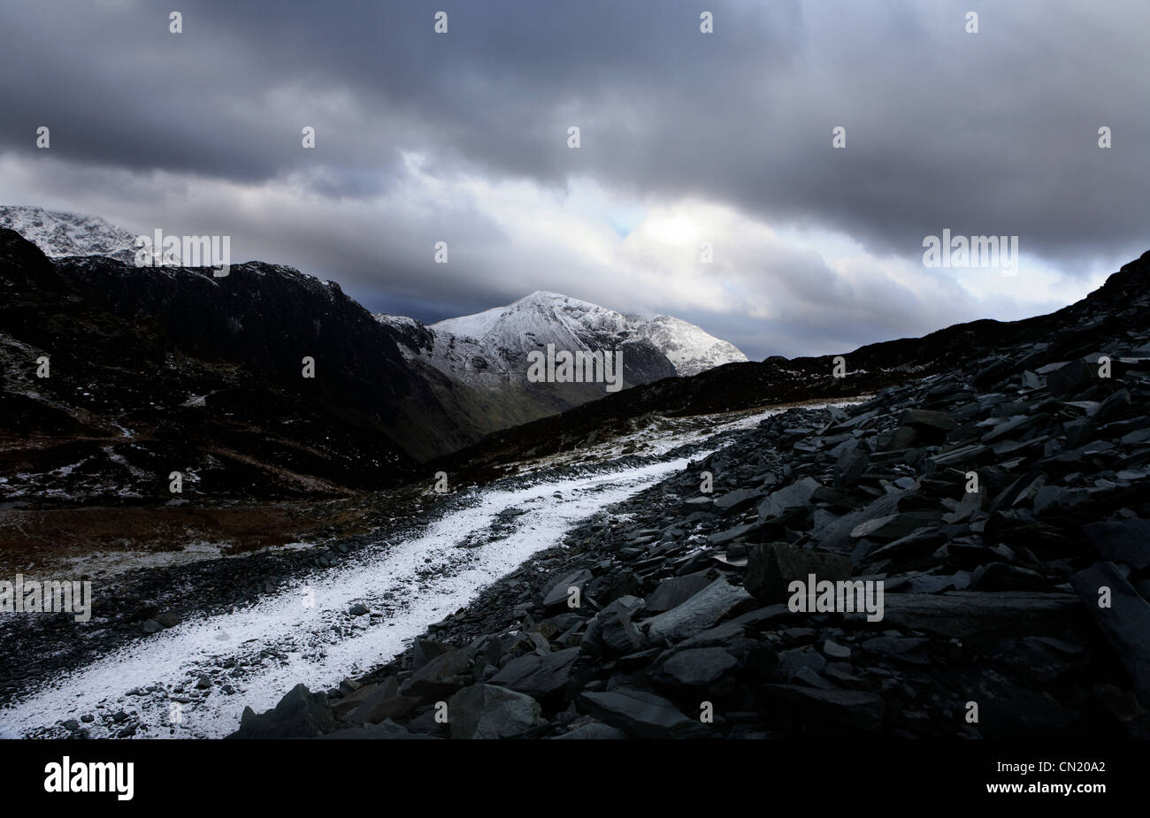Snow and mountain path, Lake District, Cumbria, England, UK - Stock Image