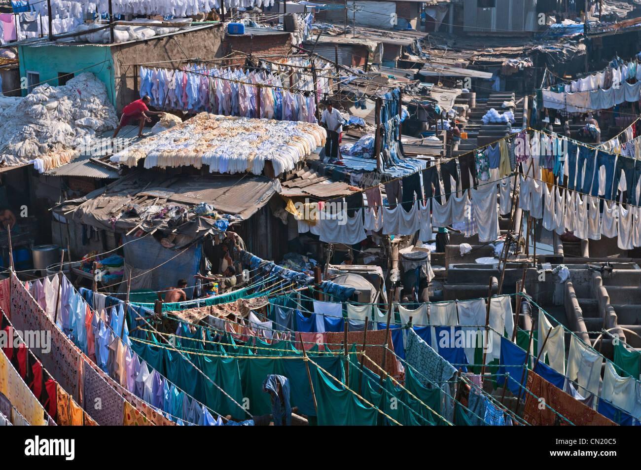 Mahalaxmi Dhobi Ghat Outdoor laundry Mumbai Bombay India - Stock Image