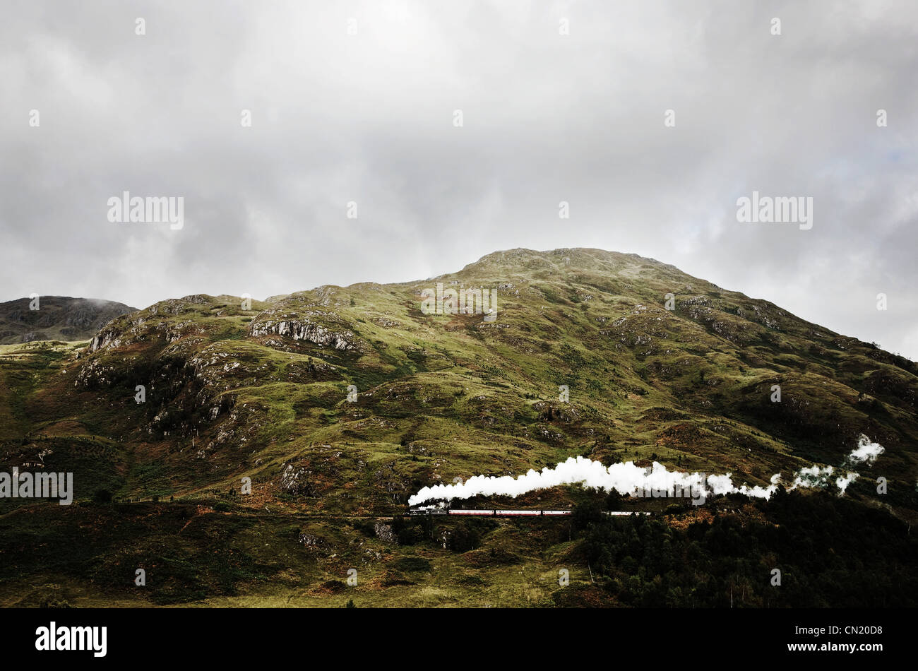 Steam train on mountain, Glenfinnan, Scotland - Stock Image