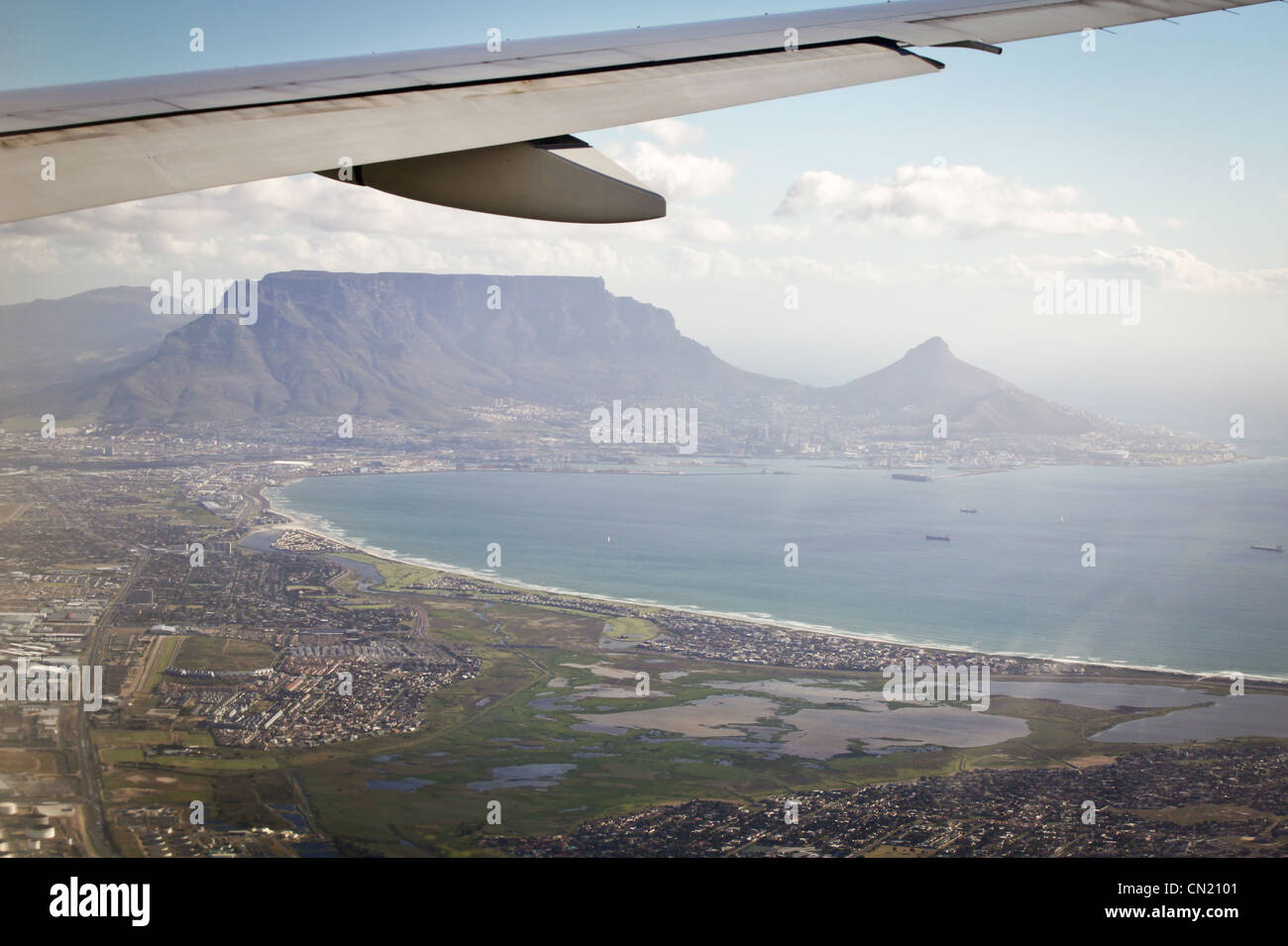 View from airplane window of Cape Town, South Africa - Stock Image