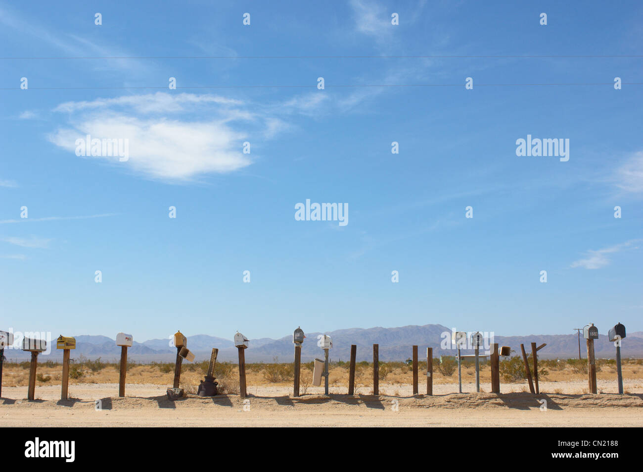 Mailboxes, Mojave Desert, California, USA - Stock Image