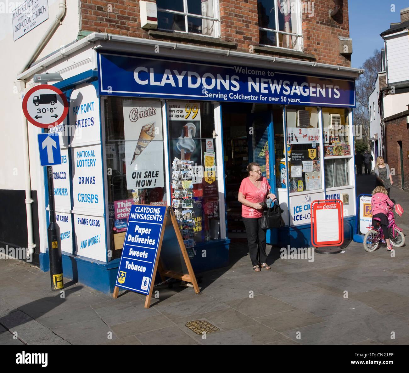 Claydons newsagents Colchester Essex England Stock Photo