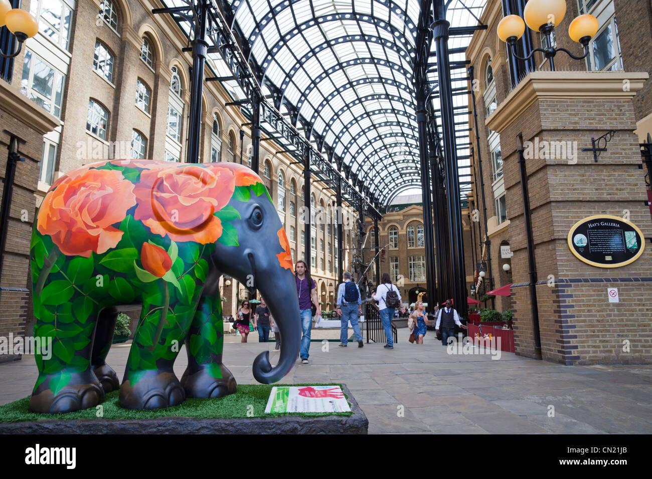 Elephant at Hay's Galleria, London, UK - Stock Image
