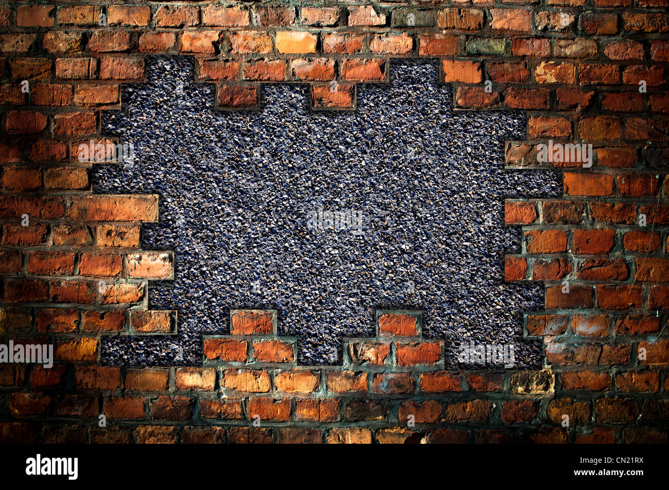 Hole In An Old Brick Wall Background Stock Photo