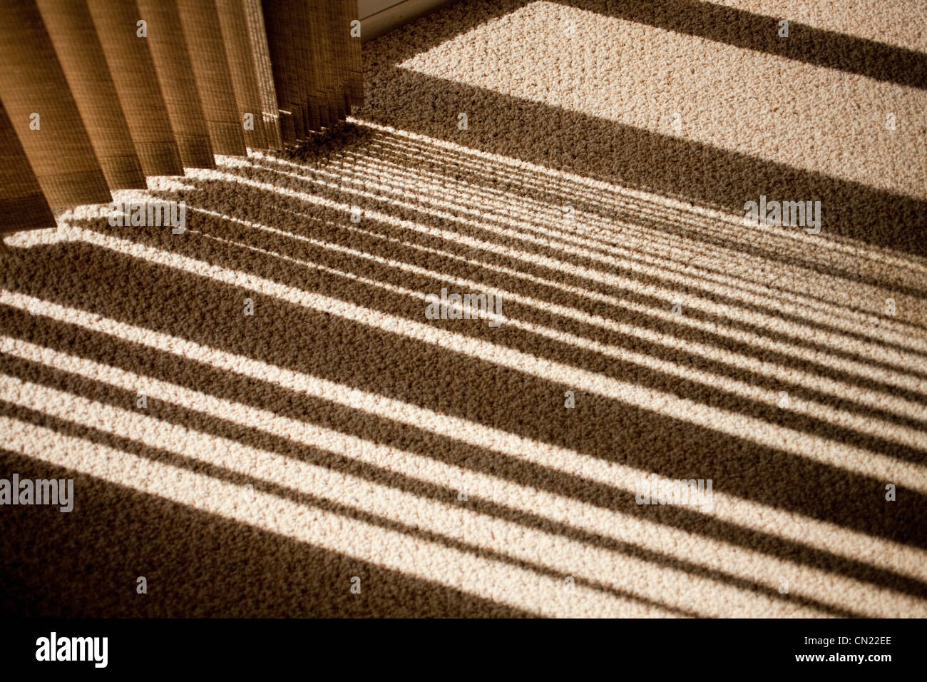 Window blinds casting shadow on carpet - Stock Image