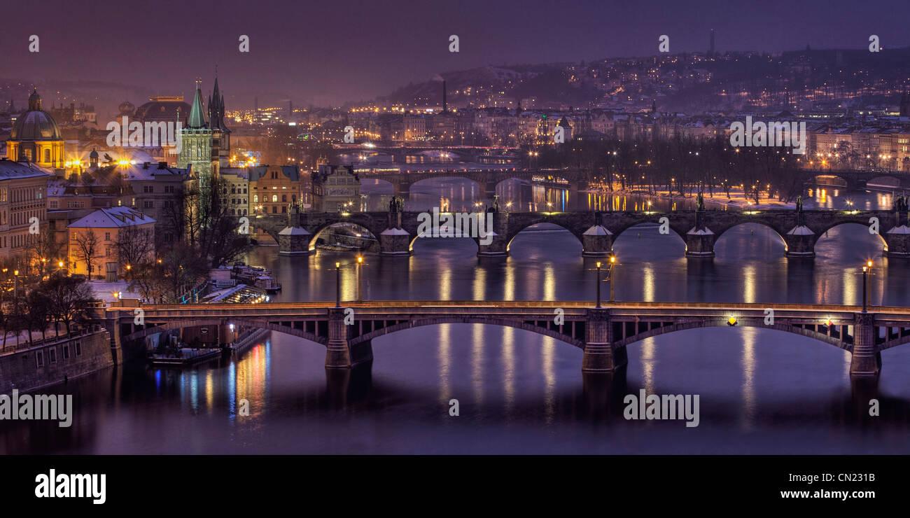 View over the bridges in Prague Stock Photo