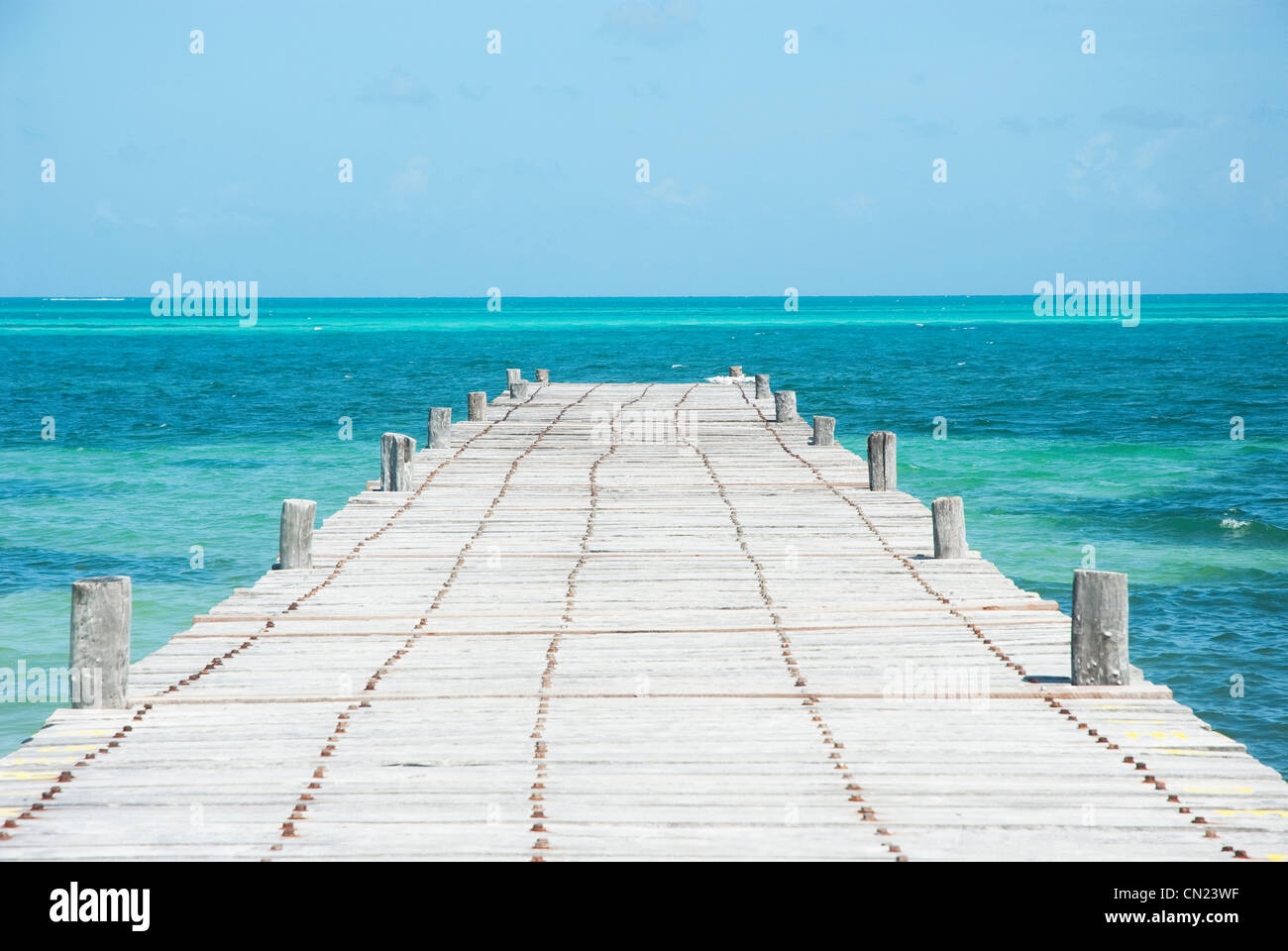 Jetty going out to sea, Tulum, Mexico - Stock Image