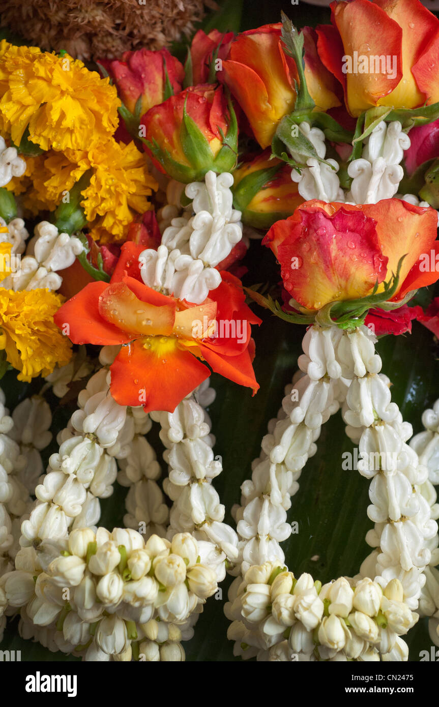 Thailand flower offering stock photos thailand flower offering thailand bangkok hand made flower arrangements used as offerings stock image izmirmasajfo