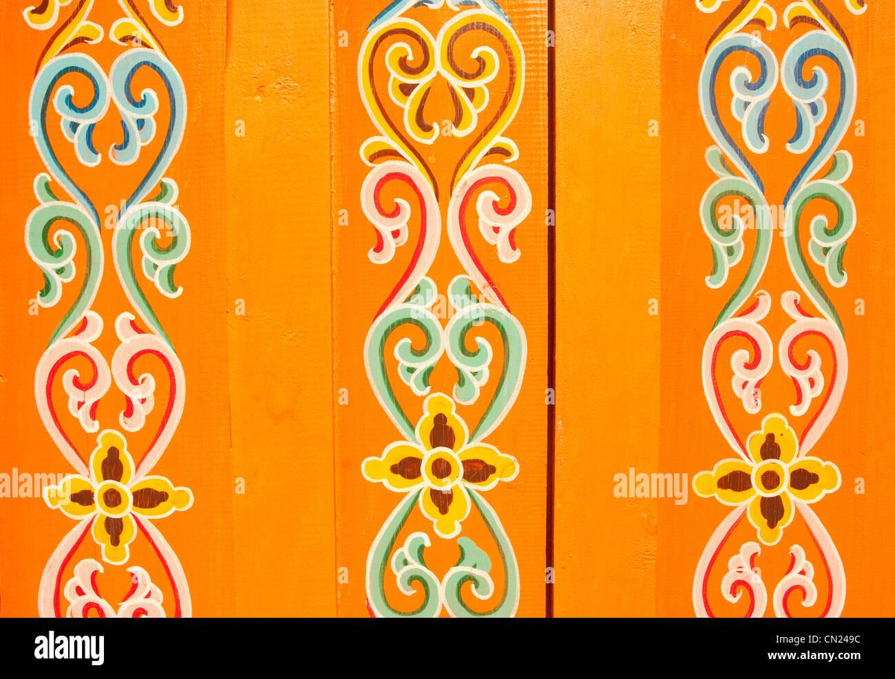 Decorative pattern on gypsy yurt - Stock Image