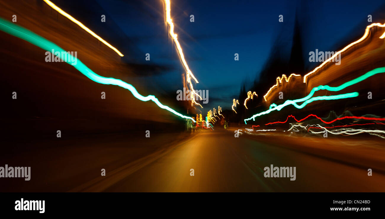 Tail lights at night in the city - Stock Image