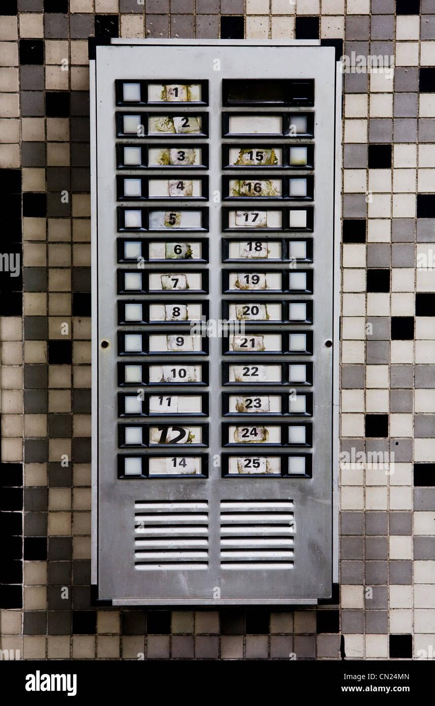 Communal doorbells - Stock Image