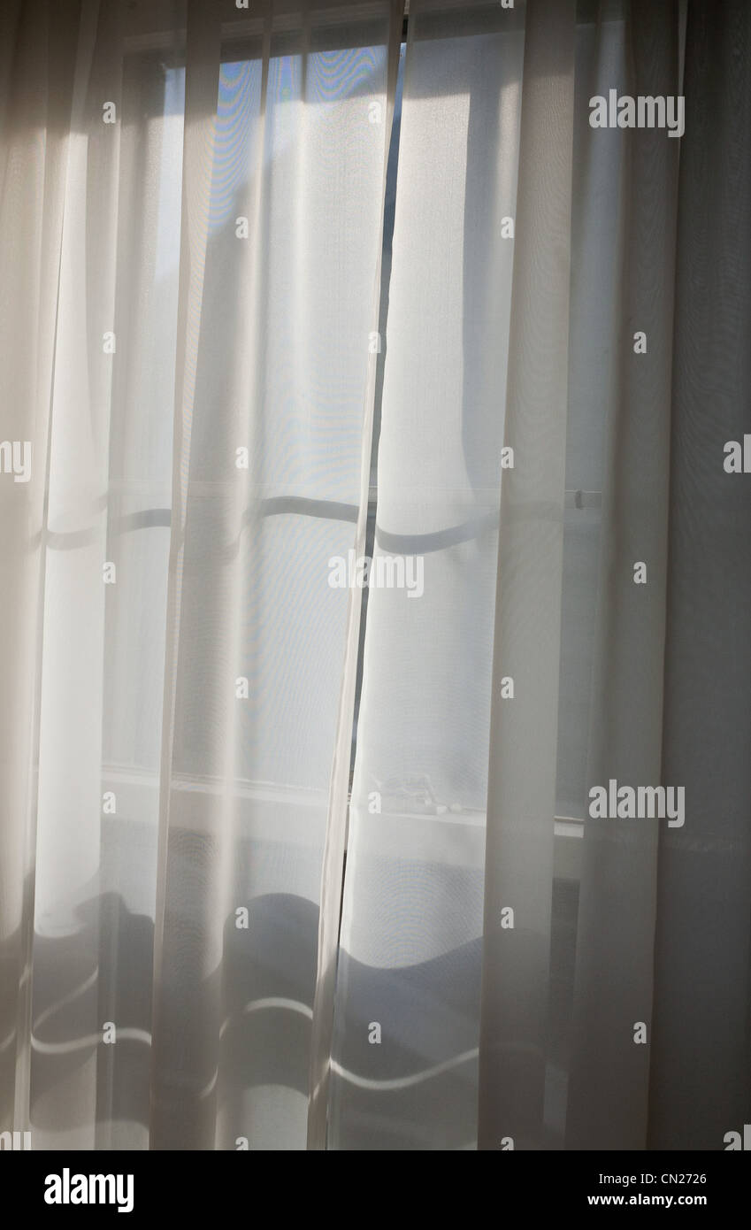 Window and net curtain - Stock Image