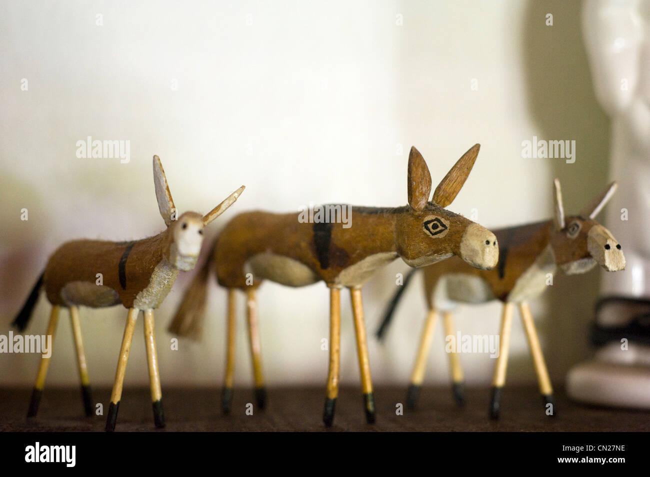 Three ornamental donkeys - Stock Image