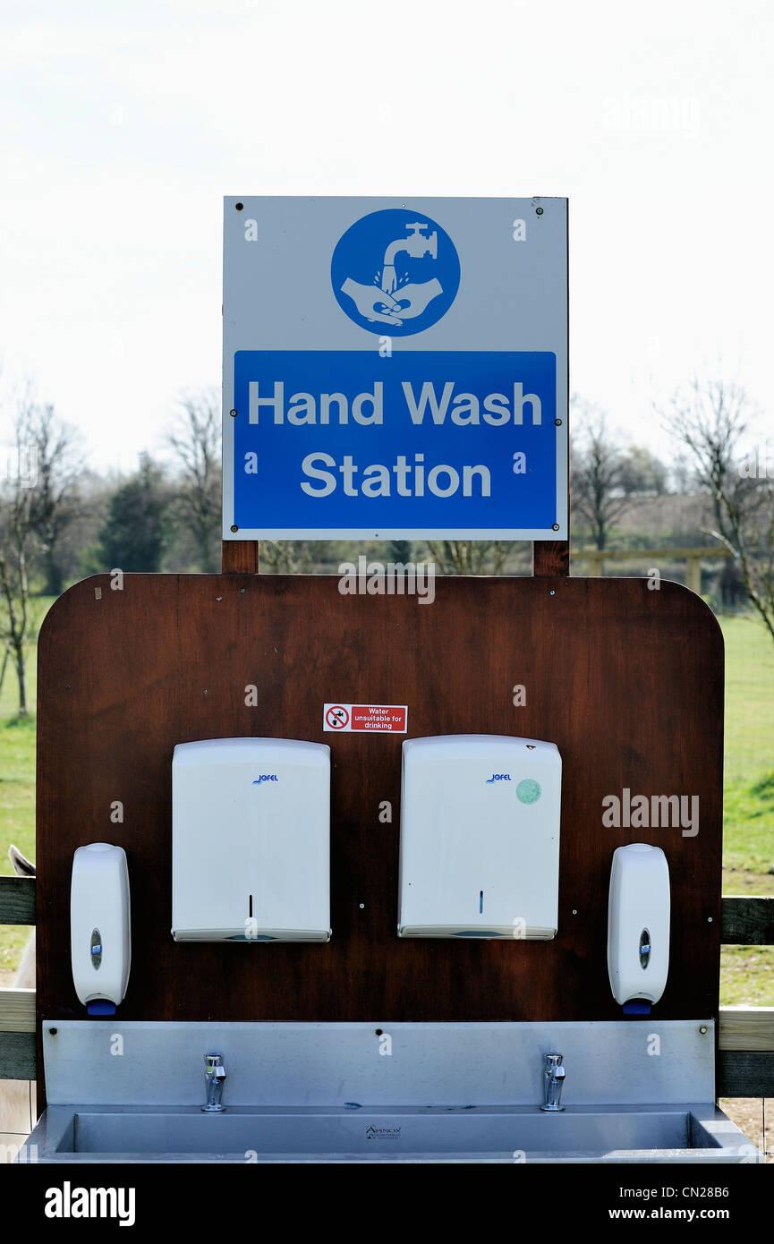hand wash station white post farm nottinghamshire england uk - Stock Image